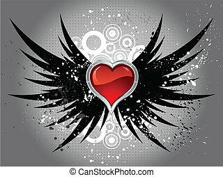심장, grunge, 날개, 광택 인화