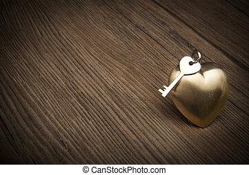 심장, heart., 금, 연인의 것, concept., greetings., 열쇠, 늙은, 나의, 일