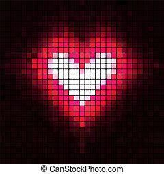 심장, mosaic., 벡터, illustration.