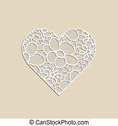 심혼 모양, 와, 손, 그어진, 꽃의, ornament.