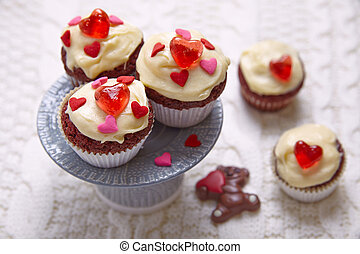 심혼, 장식식의, 컵케이크, 벨벳, 빨강