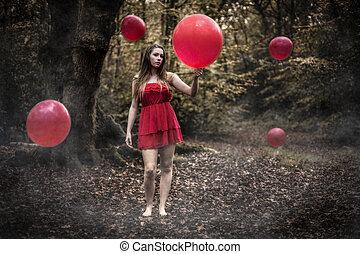 십대의 소녀, 보유, 빨간 기구, 에서, 안개가 짙은 숲, 와, 부동적인, b
