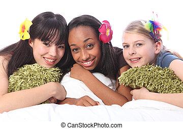 십대 소녀, 머리의 꽃, 에, sleepover, 파티