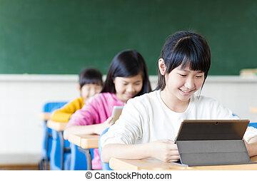 십대 소녀, 학생, 봄, 그만큼, 정제, 에서, 교실