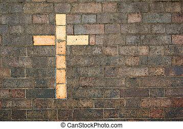 십자가, 의, 그리스도, 건축되는, 으로, a, 벽돌 벽