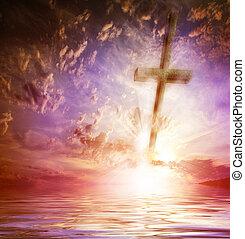 십자가, 향하여, 그만큼, 하늘