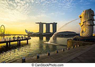 싱가포르, 경계표, merlion, 와, 해돋이
