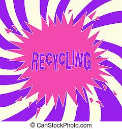 쓰기, 저명, 전시, recycling., 사업, 사진, showcasing, 개조하는, 낭비, 으로, 재사용할 수 있는, 제재, 보호한다, 그만큼, 환경