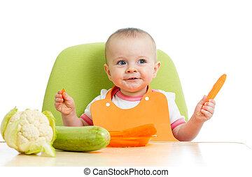 아기, 건강한, 소녀, 먹다, 야채