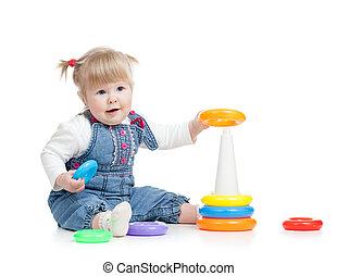 아기, 노는 것, 와, 색, 장난감