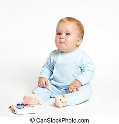 아기, 노는 것, 와, 장난감