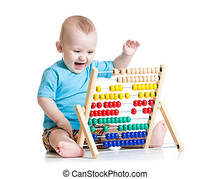아기, 노는 것, 와, 주판, 장난감