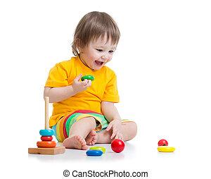 아기, 노는 것, 와, 피라미드, 장난감