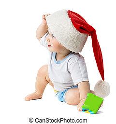 아기, 밖으로 엿보는, 에서, 억압되어, 그만큼, 크리스마스 모자