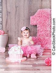 아기, 생일 소녀, 먹다, 귀여운, cake., 처음