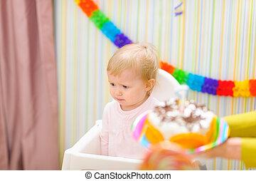 아기, 생일, 전복, 처음, 축하