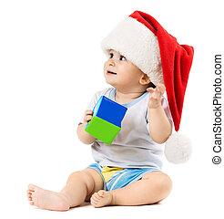 아기, 에서, a, 크리스마스 모자, 원하는, 무엇인가