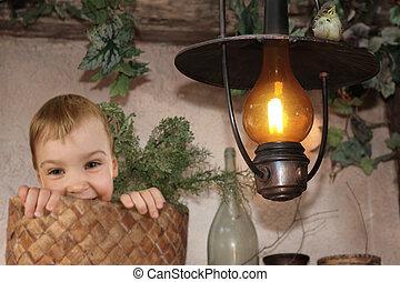 아기, 에서, busket, 아기 새, 통하고 있는, 타는 것, kerosine, 램프, 콜라주