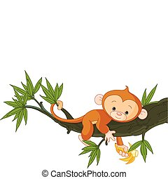 아기 원숭이, 통하고 있는, a, 나무