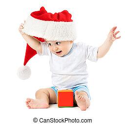 아기, 이동한다, 그의 것, santa 모자