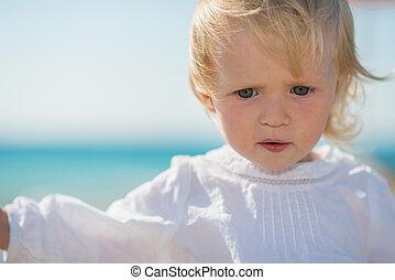 아기, 초상, 생각에 잠긴, 바닷가