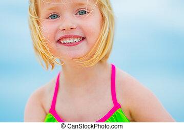 아기, 초상, 소녀, 바닷가