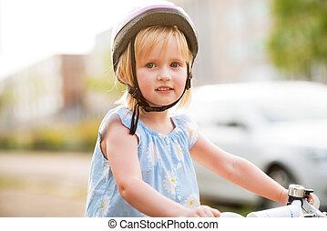 아기, 초상, 소녀, 자전거, 착석