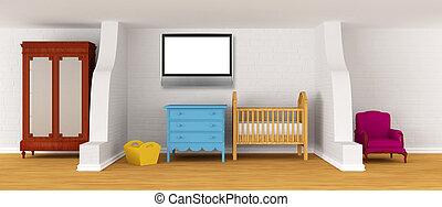 아기, 침실, 와, a, crib.