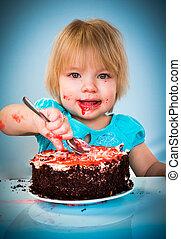 아기, 케이크, 거의, 먹다, 소녀