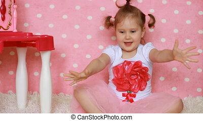 아기, fashionista., 은 뒤축을 댄다, 구두, 어머니, 배경., 핑크, 성인 아이, shoe., ...