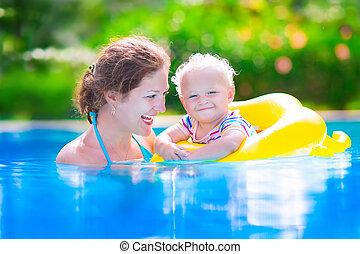 아기, swiming, 웅덩이, 어머니