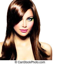 아름다운, 갈색의, 브루넷의 사람, 건강한, 긴 머리, girl.