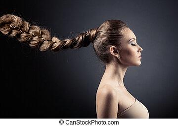 아름다운, 갈색의, 여자, 긴 머리, portrait.