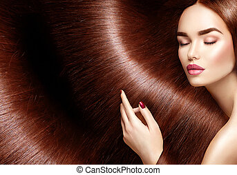 아름다운, 갈색의, 여자, 아름다움, 건강한, 긴 머리, 배경, hair.