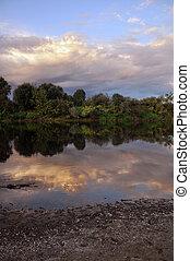 아름다운, 강, 와..., 하늘, 에서, 그만큼, evening.