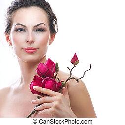 아름다운, 건강한 여자, 와, 봄, flowers., 광천