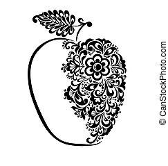 아름다운, 검정과 백색, 애플, 장식식의, 와, 꽃의, pattern.