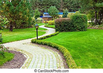 아름다운, 공원, 정원