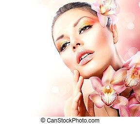 아름다운, 광천, 소녀, 와, 난초, 꽃, 만지는 것, 그녀, 얼굴