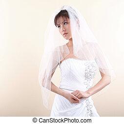 아름다운, 그녀, 함께, 신부, 아시아 사람, 손을 잡는 것