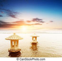 아름다운, 그만큼, 서쪽, 호수, 풍경, 조경술을 써서 녹화하다, 와, 일몰, 에서, hangzh
