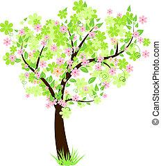 아름다운, 꽃의, 나무