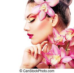 아름다운, 꽃, 아름다움, 초상, 유행, 소녀, 난초