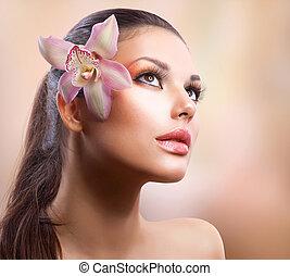 아름다운, 꽃, 아름다움, portrait., 유행, 소녀, 난초