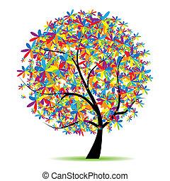 아름다운, 나무, 디자인, 예술, 너의