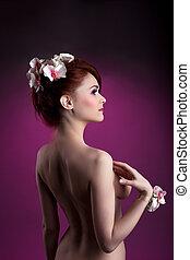 아름다운, 나체 상태, 머리가 붉은, 여자, 와, 꽃