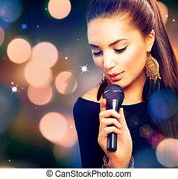 아름다운, 노래하는, girl., 아름다움, 여자, 와, 마이크로폰