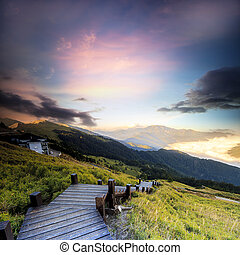 아름다운, 높은, 일몰, 산