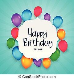 아름다운, 다채로운, 생일, 배경, 기구, 행복하다
