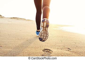 아름다운, 달리기, 여자